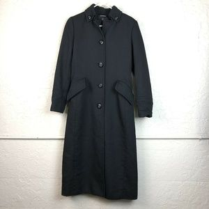 Express Trench Coat 5/6 Longline Black Button Up